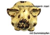 Lachendes Sparschwein mit Backen beige- braun aus Keramik mit Spardosenstopfen Maße ca.: L= 18 cm - Bild vergrößern