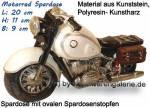 Spardose Motorrad weiß/ bunt aus Kunststein mit Spardosenstopfen Maße ca.: L= 20 cm