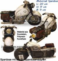 Spardose Motorrad weiß/ bunt aus Kunststein mit Spardosenstopfen Maße ca.: L= 20 cm - Bild vergrößern
