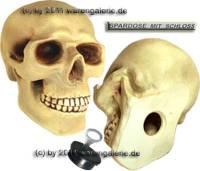 Spardose Totenkopf - Skull - Schädel mit Spardosenschloss und Spardosenschlüssel  Maße ca.: H= 20 cm - Bild vergrößern