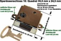 Spardosenschloss 10: Quadrat 1 Stück Maße: 35,5 mm x 24,5 mm - Bild vergrößern