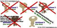 Spardosenschlüssel 5: 5x Stück Metall- Spardosenschlüssel - Bild vergrößern