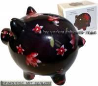 Sparschwein Dekor Blumen schwarz mit rot/ bunten Blüten Keramik und Schloss Maße ca.: L= 20 cm       - Bild vergrößern