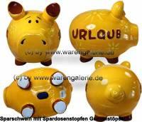 Sparschwein 3D Design Urlaub gelb riesengroßes Monster Keramik Marke KCG Maße ca.: L= 30 cm - Bild vergrößern