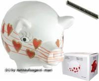 Sparschwein mit Design Herzen weiß Dekor rote Herzen Keramik mit Spardoschloss Maße ca: 16 cm - Bild vergrößern