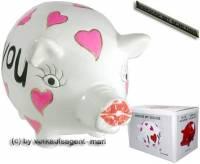 Sparschwein Design Herzen weiß -I love you- Keramik mit Spardosenschloss & Schlüssel Maße ca: 16 cm - Bild vergrößern