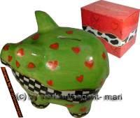 SPARSCHWEIN ART- DESIGN 5 aus Keramik mit Spardosenschloss und Spardosenschlüssel Maße ca.: L= 17 cm - Bild vergrößern