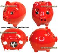 Sparschwein mit großen Augen Design Uni rot Keramik mit Spardosenschloss Maße ca.: L= 16 cm - Bild vergrößern