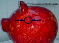 Sparschwein Dekor Schmetterling dunkelrot Keramik mit Schloss Maße ca: 20 cm ! Sonderverkauf ! 124a - Bild vergrößern