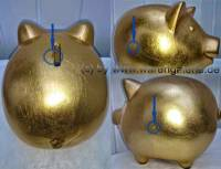 Sparschwein Gold Farbe aus Ton mit Spardosenschloss Maße ca.: L= 17 cm ! Sonderverkauf ! 137a - Bild vergrößern