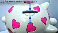 Sparschwein Design Herz weiß -I love you- Keramik mit Schloss Maße ca: 16 cm ! Sonderverkauf ! 212a - Bild vergrößern