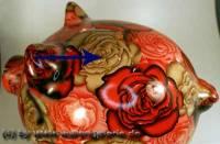 Sparschwein Blumendekor Keramik extra Groß mit Schloss Maße ca.: L= 28 cm ! Sonderverkauf ! 89h - Bild vergrößern