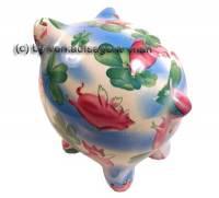 Sparschwein mit bunten Glücksbringer Dekor Keramik mit Spardosenschloss Maße ca.: L= 18 cm - Bild vergrößern
