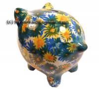 Sparschwein mit bunten Blumen bunten Blüten Dekor Keramik mit Spardosenschloss Maße ca.: L= 18 cm - Bild vergrößern