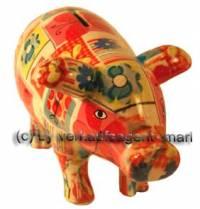 Sparschwein Sau Dekor Sommer bunt Keramik mit Spardosenschloss und Schlüssel Maße ca.: L= 23,5 cm - Bild vergrößern