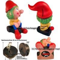 Spardose Wichtel Hatschipuh mit Spardosenschloss und Metall- Spardosenschlüssel Maße ca.: H= 18,5 cm - Bild vergrößern