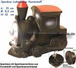 Spardose Lokomotive mit Spardosenschloss und Metall- Spardosenschlüssel Maße ca.: L= 15 cm