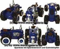 Trecker Traktor Oldtimer Spardose blau Kunststein mit Gummistopfen Maße ca.: L= 16 cm - Bild vergrößern