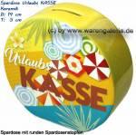 Spardose Urlaubs KASSE Design- Motiv Sonnenschirme & Blumen gelb/ bunt Maße ca.: H= 13,5 cm