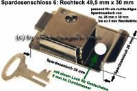 Spardosenschloss 6: Rechteck 1 Stück Maße: 49,5 mm x 30 mm - Bild vergrößern