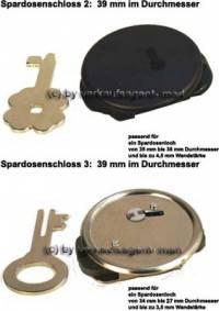 Spardosenschloss Set 2: 39mm Schlösser 2 Stück Maße: Ø= 39 mm - Bild vergrößern