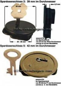 Spardosenschloss Set 6: 39+42mm Schlösser 2 Stück Maße: Ø= 39 mm + 42 mm - Bild vergrößern