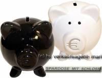 Sparschweinset weiß & schwarz zwei Sparschweine Set mit Euro- Symbol Maße je ca.: L= 11,5 cm - Bild vergrößern