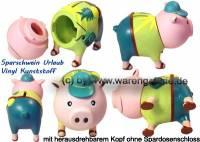 Sparschwein Urlaub Vinyl aus festen Vinyl- Kunststoff Maße ca.:L= 16 cm - Bild vergrößern