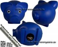 Sparschwein Groß Blau Vinyl Monstersparschwein mit Spardosenschloss und Schlüssel Maße ca.: L= 32 cm - Bild vergrößern