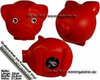 Sparschwein Groß Rot Vinyl Monstersparschwein mit Spardosenschloss und Schlüssel Maße ca.: L= 32 cm - Bild vergrößern