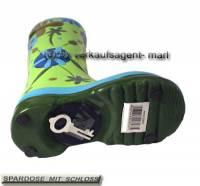 Spardose Stiefel Blumendekor grün/ bunt Keramik mit Spardosenschloss Maße ca.: H= 25 cm - Bild vergrößern