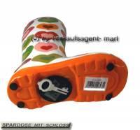 Spardose Stiefel Herzendekor weiß/ bunt Keramik mit Spardosenschloss Maße ca.: H= 25 cm - Bild vergrößern