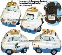 Spardose Auto Urlaubsspardose weiß/ bunt aus Kunststein mit Spardosenverschluss Maße ca.: L= 15 cm - Bild vergrößern