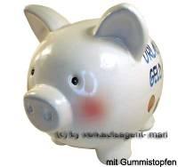Sparschwein Aufschrift Urlaubsgeld Keramik mit Spardosenstopfen Stöpsel Maße ca.: L= 20 cm - Bild vergrößern