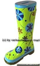 Spardose Stiefel Blumendekor grün/ bunt Keramik mit Spardosenschloss Maße ca.: H= 25 cm