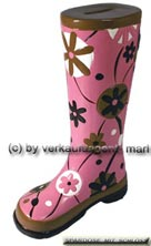 Spardose Stiefel Blumendekor rosa/ bunt Keramik mit Spardosenschloss Maße ca.: H= 25 cm